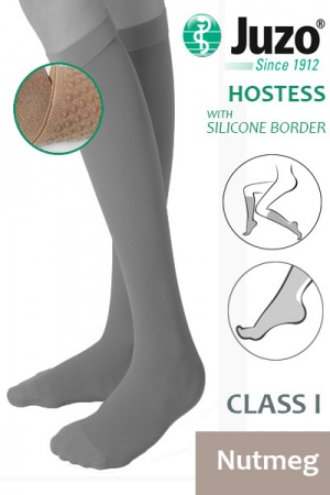 Juzo Hostess Class 1 Nutmeg Knee High Compression Stockings with Thin Silicone Border