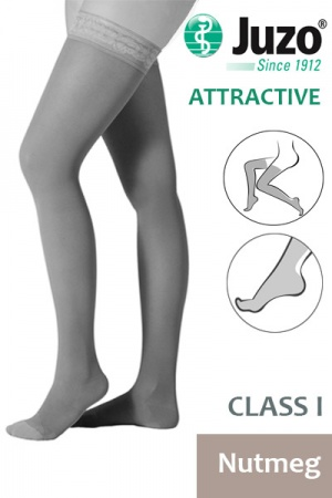 Juzo Attractive Class 1 Nutmeg  Thigh High Compression Stockings