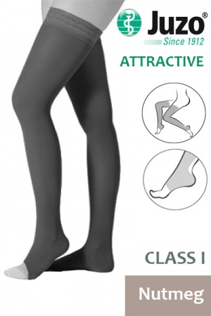 Juzo Attractive Class 1 Nutmeg Thigh High Compression Stockings with Open Toe