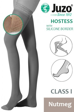 Juzo Hostess Class 1 Nutmeg Thigh High Compression Stockings with Silicone Border