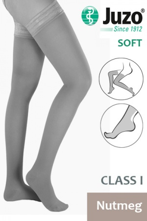 Juzo Soft Class 1 Nutmeg Thigh Compression Stockings with Tricot Border