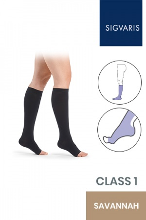 Sigvaris Essential Comfortable Unisex Class 1 Knee High Savannah Compression Stockings with Open Toe