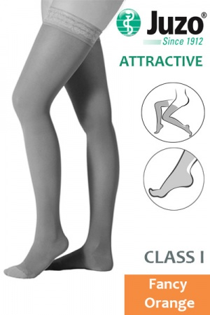 Juzo Attractive Class 1 Fancy Orange Thigh High Compression Stockings
