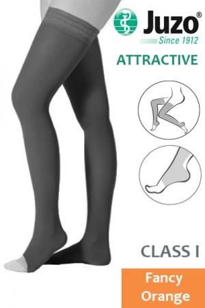 Juzo Attractive Class 1 Fancy Orange Thigh High Compression Stockings with Open Toe