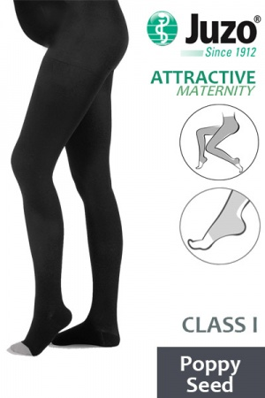 Juzo Attractive Class 1 Poppy Seed Maternity Compression Tights with Open Toe