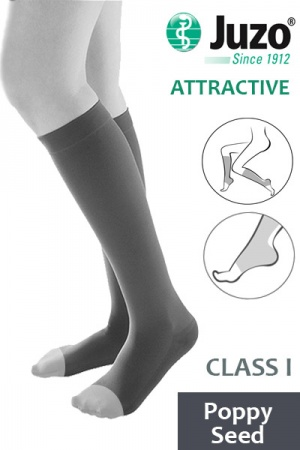 Juzo Attractive Class 1 Poppy Seed Below Knee Compression Stockings with Open Toe
