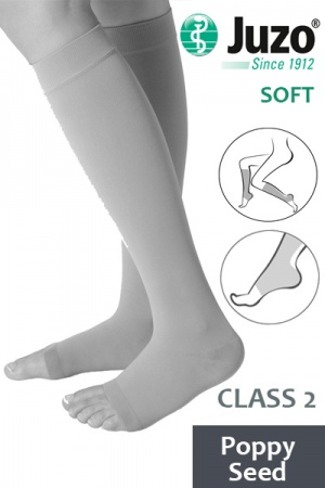 Juzo Soft Class 2 Poppy Seed Calf Compression Stockings with Open Toe
