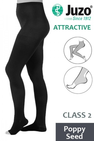 Juzo Attractive Class 2 Poppy Seed Compression Tights with Open Toe