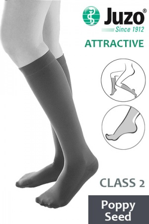 Juzo Attractive Class 2 Poppy Seed Below Knee Compression Stockings