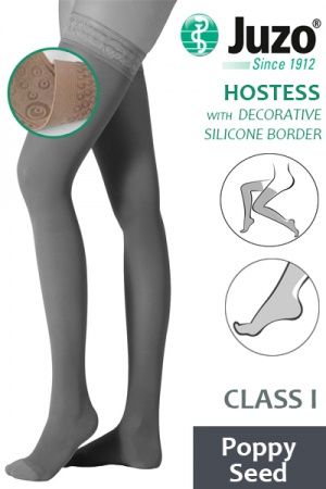 Juzo Hostess Class 1 Poppy Seed Thigh High Compression Stockings with Decorative Silicone Border