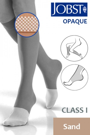 JOBST Opaque Class 1 Knee-High Sand Compression Stockings with Dotted Silicone Band and Open Toe