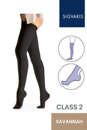 Sigvaris Essential Comfortable Unisex Class 2 Thigh High Savannah Compression Stockings