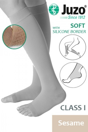 Juzo Soft Class 1 Sesame Calf Compression Stockings with Open Toe and Silicone Border