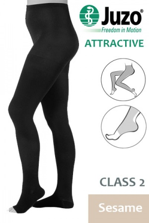 Juzo Attractive Class 2 Sesame Compression Tights with Open Toe