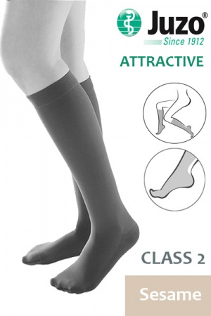 Juzo Attractive Class 2 Sesame Below Knee Compression Stockings with Open Toe