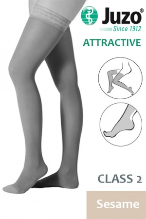 Juzo Attractive Class 2 Sesame Thigh High Compression Stockings