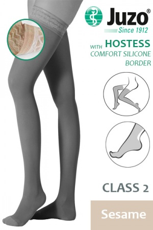 Juzo Hostess Class 2 Sesame Thigh High Compression Stockings with Comfort Silicone Border