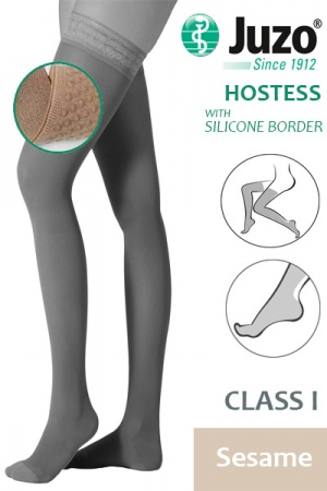 Juzo Hostess Class 1 Sesame Thigh High Compression Stockings with Silicone Border