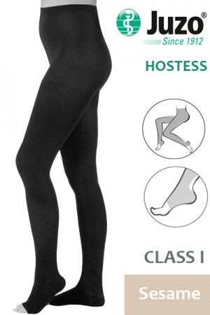 Juzo Hostess Class 1 Sesame Compression Tights with Open Toe
