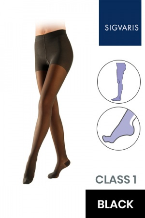 Sigvaris Essential Semitransparent Class 1 Black Compression Tights