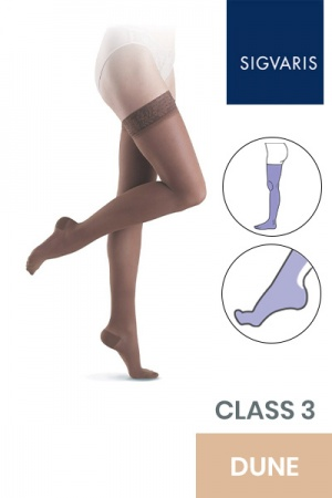 Sigvaris Essential Semitransparent Class 3 Thigh Dune Compression Stockings