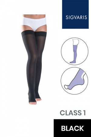 Sigvaris Essential Thermoregulating Unisex Class 1 Thigh Black Compression Stockings with Open Toe