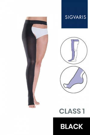 Sigvaris Essential Thermoregulating Unisex Class 1 Thigh Black Compression Stocking with Waist Attachment and Open Toe