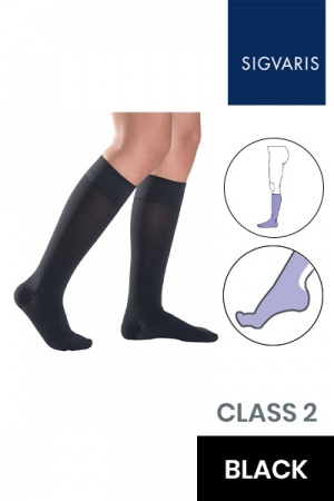Sigvaris Essential Thermoregulating Unisex Class 2 Knee High Black Compression Stockings with Knobbed Grip