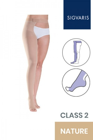 Sigvaris Essential Thermoregulating Unisex Class 2 Thigh Nature Compression Stocking with Waist Attachment and Open Toe