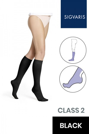 Sigvaris Style Opaque Class 2 Knee High Black Compression Stockings