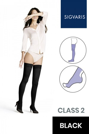 Sigvaris Style Opaque Class 2 Thigh Black Compression Stockings with Open Toe
