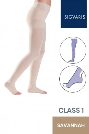 Sigvaris Style Semitransparent Class 1 Savannah Compression Tights with Open Toe