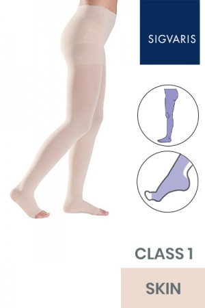 Sigvaris Style Semitransparent Class 1 Skin Compression Tights with Open Toe