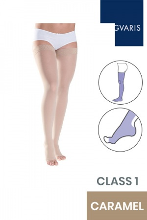 Sigvaris Style Semitransparent Class 1 Thigh Caramel Compression Stockings with Lace Grip and Open Toe