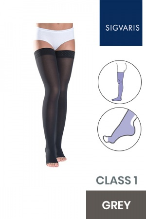 Sigvaris Style Semitransparent Class 1 Thigh Grey Compression Stockings with Lace Grip and Open Toe