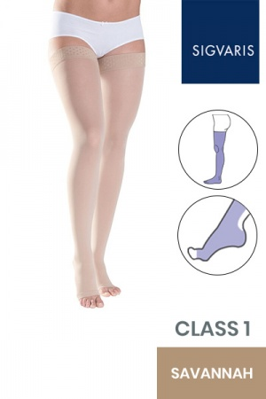 Sigvaris Style Semitransparent Class 1 Thigh Savannah Compression Stockings with Lace Grip and Open Toe