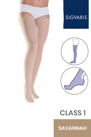 Sigvaris Style Semitransparent Class 1 Thigh Savannah Compression Stockings with Lace Grip