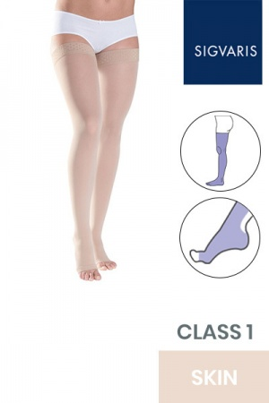 Sigvaris Style Semitransparent Class 1 Thigh Skin Compression Stockings with Lace Grip and Open Toe