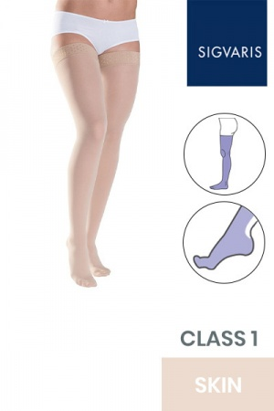 Sigvaris Style Semitransparent Class 1 Thigh Skin Compression Stockings with Lace Grip Top