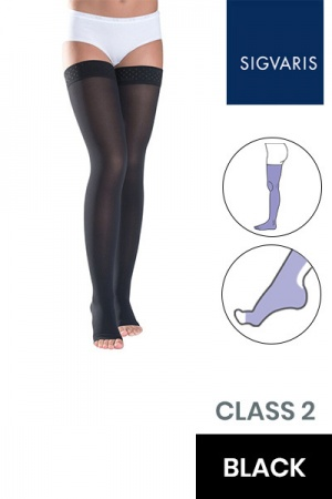 Sigvaris Style Semitransparent Class 2 Thigh Black Compression Stockings With Knobbed Grip and Open Toe