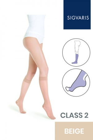 Sigvaris Style Transparent Class 2 Knee High Beige One (110) Compression Stockings