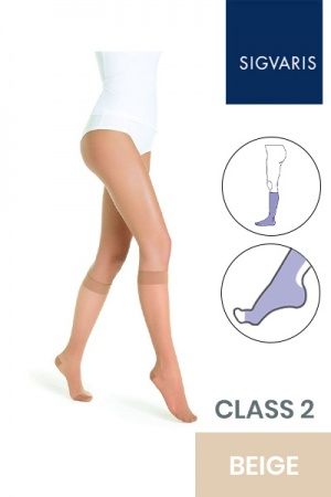 Sigvaris Style Transparent Class 2 Knee High Beige Three (130) Compression Stockings