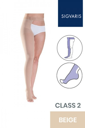 Sigvaris Traditional Unisex Class 2 Beige Compression Stockings with Waist Attachment and Open Toe