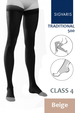 Sigvaris Traditional 500 Class 4 Beige Thigh High Compression Stockings with Open Toe
