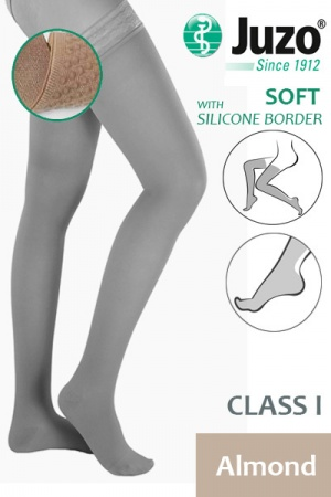 Juzo Soft Class 1 Almond Thigh Compression Stockings with Silicone Border