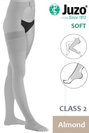 Juzo Soft Class 2 Almond Thigh Compression Stocking with Open Toe and Waist Attachment