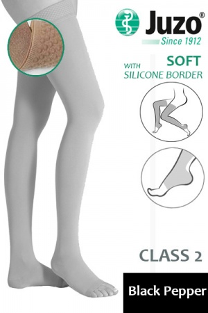 Juzo Soft Class 2 Black Pepper Thigh Compression Stockings with Open Toe and Silicone Border