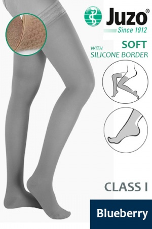 Juzo Soft Class 1 Blueberry Thigh Compression Stockings with Silicone Border