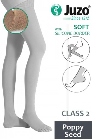 Juzo Soft Class 2 Poppy Seed Thigh Compression Stockings with Open Toe and Silicone Border