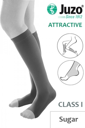 Juzo Attractive Class 1 Sugar Below Knee Compression Stockings with Open Toe